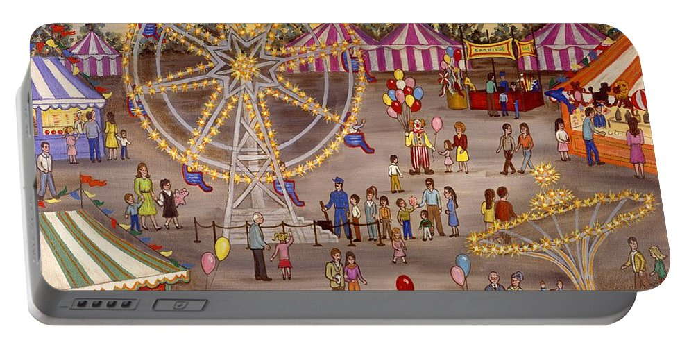 Folk Art Carnival Portable Battery Charger featuring the painting Ferris Wheel At The Carnival by Linda Mears