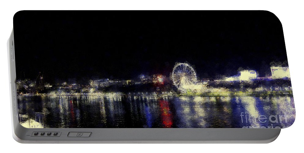 Ferris-wheel Portable Battery Charger featuring the photograph Ferris-wheel At The River by Douglas Barnard