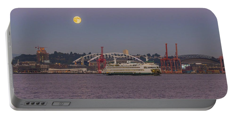 Full Moon Portable Battery Charger featuring the photograph Ferry Under A Full Moon by Scott Campbell