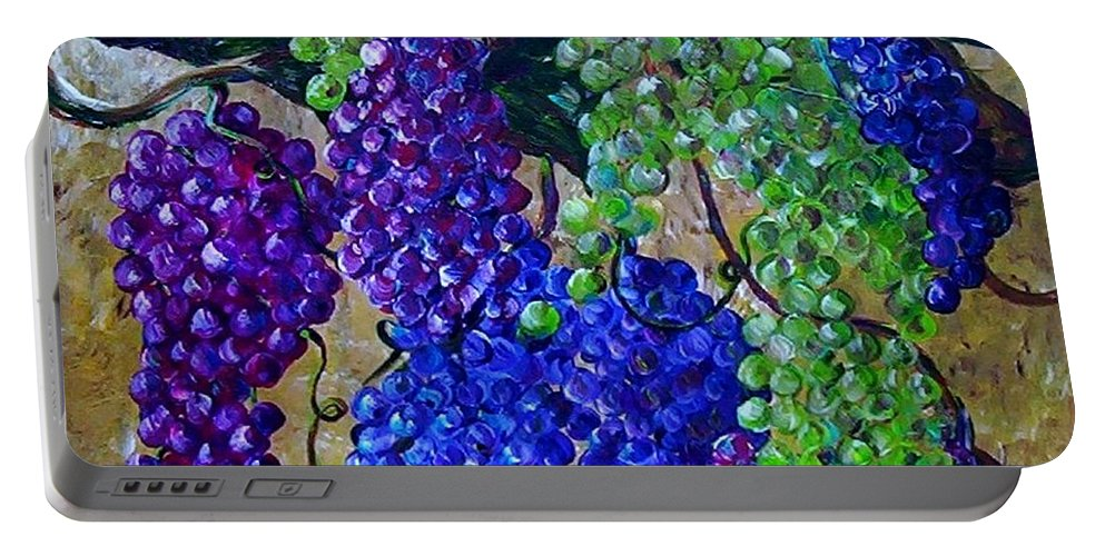 Grapes Portable Battery Charger featuring the painting Festival Of Grapes by Eloise Schneider Mote