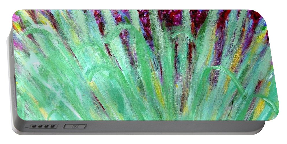 Abstract Portable Battery Charger featuring the painting Festoon by Laurie Morgan