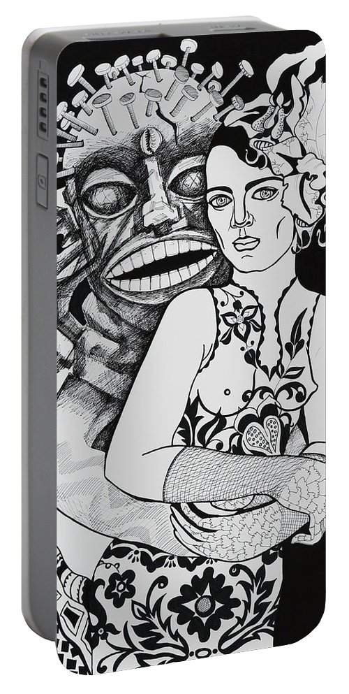 Surreal Portable Battery Charger featuring the drawing Fetish Girl by Yelena Tylkina