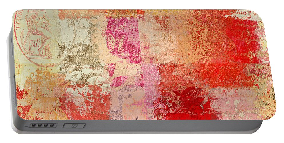 Abstract Portable Battery Charger featuring the digital art Feuilleton De Nature - S01t02a by Variance Collections