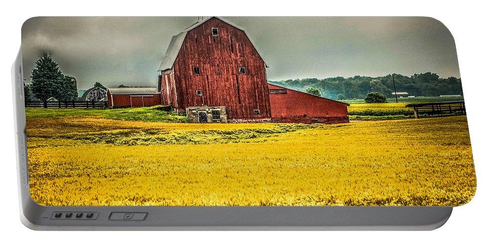 Barn Portable Battery Charger featuring the photograph Field And Barn by Grace Grogan