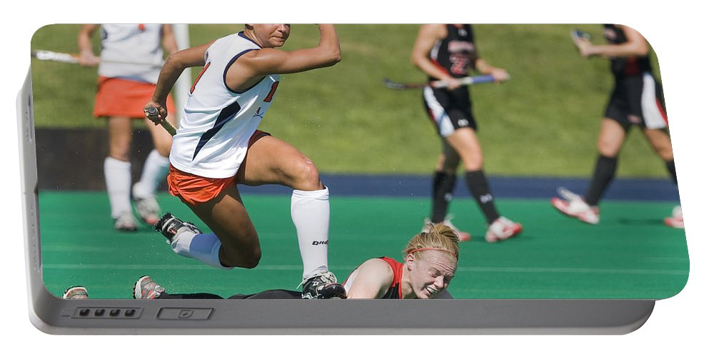 University Of Virginia Portable Battery Charger featuring the photograph Field Hockey Hurdle by Jason O Watson