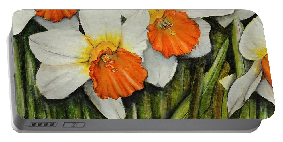 Daffodils Portable Battery Charger featuring the painting Field Of Daffodils by Karen Beasley