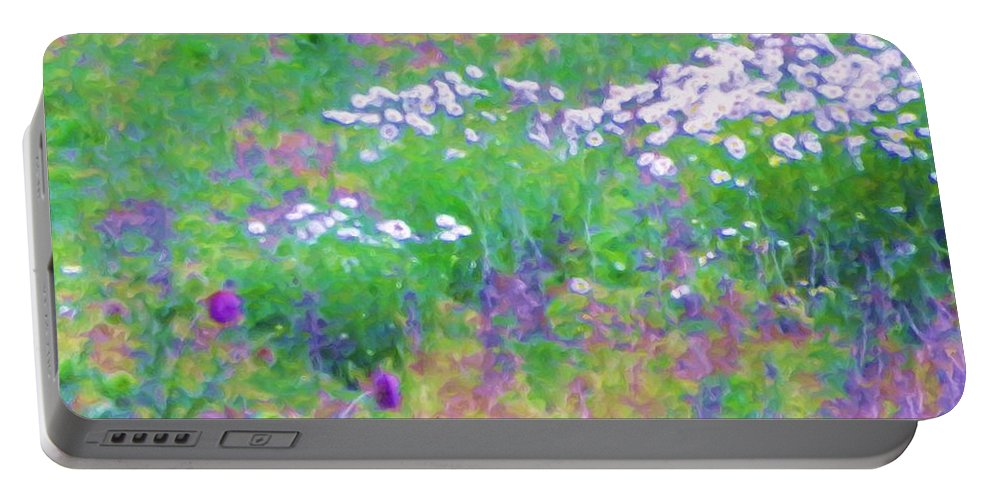 Print Of Flowers Portable Battery Charger featuring the painting Field Of Flowers In Nature by Susanna Katherine