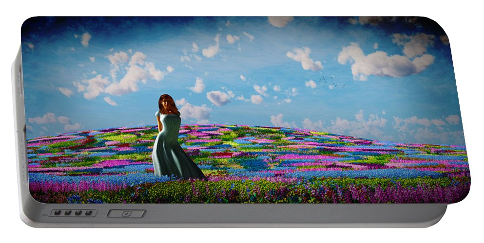Landscape Portable Battery Charger featuring the digital art Field Of Flowers... by Tim Fillingim