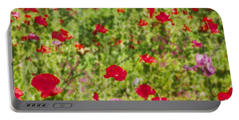 Field Of Poppies Portable Battery Charger featuring the photograph Field Of Poppies Digital Art Prints by Valerie Garner