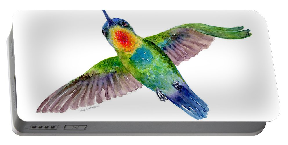 Bird Portable Battery Charger featuring the painting Fiery-throated Hummingbird by Amy Kirkpatrick