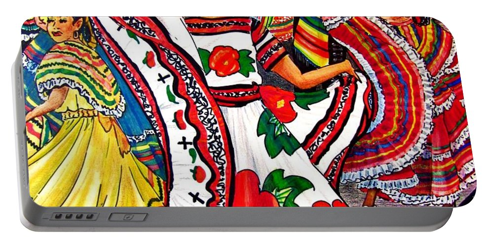 Spanish Dance Portable Battery Charger featuring the drawing Fiesta Parade by Marilyn Smith