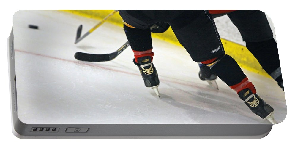 Hockey Portable Battery Charger featuring the photograph Fighting For The Puck by Shoal Hollingsworth