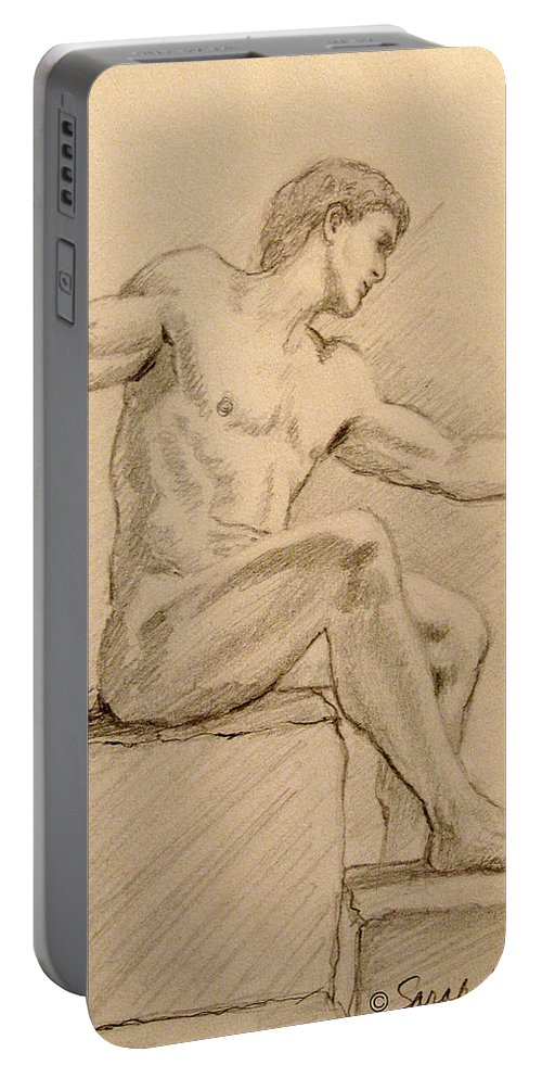 Figurative Portable Battery Charger featuring the drawing Figure On A Rock by Sarah Parks