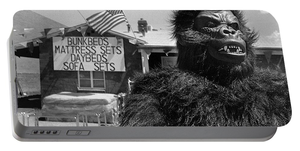 Film Homage Barbara Payton Bride Of The Gorilla 1951 Gorilla Mascot July 4th Mattress Sale 1991 Black And White Portable Battery Charger featuring the photograph Film Homage Barbara Payton Bride Of The Gorilla 1951 Gorilla Mascot July 4th Mattress Sale 1991 by David Lee Guss
