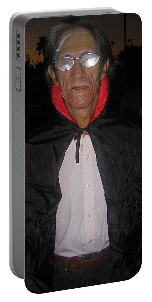Film Homage Bela Lugosi Dracula 1931 Halloween Party Casa Grande Arizona 2005 Portable Battery Charger featuring the photograph Film Homage Bela Lugosi Dracula 1931 Halloween Party Casa Grande Arizona 2005 by David Lee Guss
