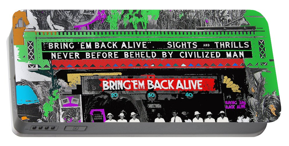 Film Homage Frank Buck Bring 'em Back Alive 1932 Fox Tucson Arizona 1932 Collage Color Added Portable Battery Charger featuring the photograph Film Homage Frank Buck Bring 'em Back Alive 1932 Collage Fox Tucson Arizona 1932-2011 by David Lee Guss