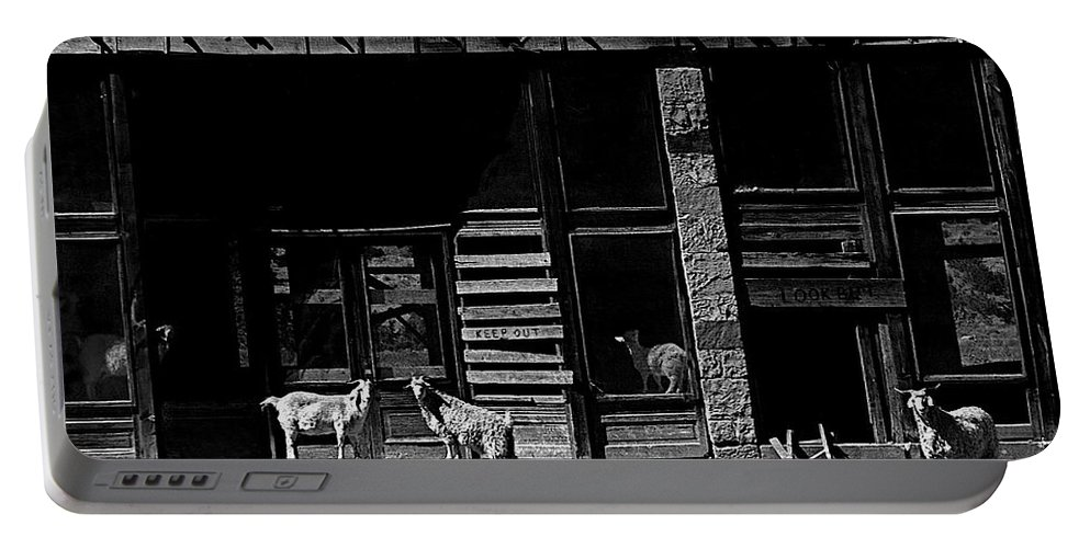 Film Homage King Vidor  Billy The Kid 1930 Wild Goats Ghost Town Billy The Kid Haunt White Oaks Nm 1968-2008 Black And White Portable Battery Charger featuring the photograph Film Homage King Vidor  Billy The Kid 1930 Wild Goats Ghost Town Billy The Kid Haunt White Oaks Nm by David Lee Guss