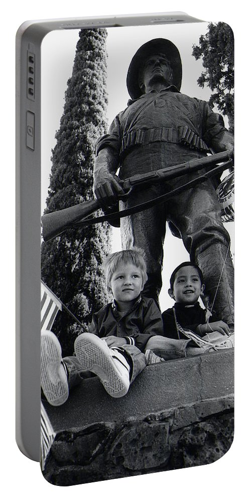 Film Homage Tearing Down The Spanish Flag 1898 Veteran's Day Parade 1984 Armory Park Tucson Portable Battery Charger featuring the photograph Film Homage Tearing Down The Spanish Flag 1898 Veteran's Day Parade 1984 Armory Park Tucson by David Lee Guss