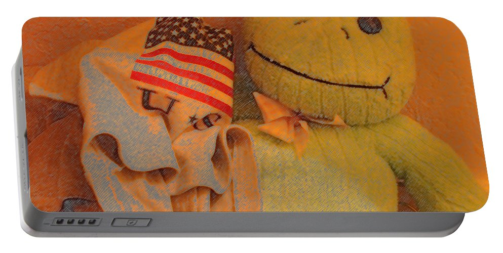 Film Homage The Muppet Movie 1979 Number 1 Froggie Colored Pencil American Flag Casa Grande Arizona 2004 Portable Battery Charger featuring the photograph Film Homage The Muppet Movie 1979 Number 1 Froggie Colored Pencil American Flag Casa Grande Az 2004 by David Lee Guss