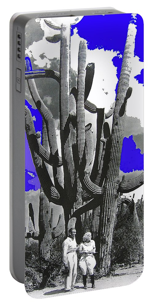 Film Homage Victor Fleming Jean Harlow Bombshell 1933 Saguaro Nat'l Monument Tucson 2008 Color Added Portable Battery Charger featuring the photograph Film Homage Victor Fleming Jean Harlow Bombshell 1933 Saguaro Nat'l Monument Tucson 2008 by David Lee Guss