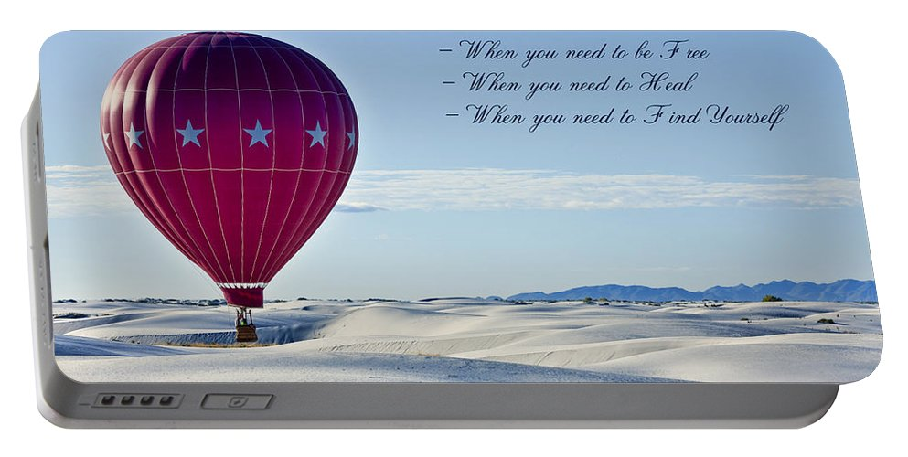 White Sands Portable Battery Charger featuring the photograph Find Your Solitude by Diana Powell