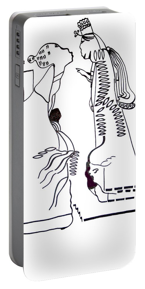 Jesus Portable Battery Charger featuring the drawing Finding Of The Lord Jesus In The Temple by Gloria Ssali