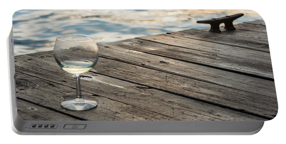 Glass Portable Battery Charger featuring the photograph Finger Lakes Wine Tasting - Wine Glass On The Dock by Photographic Arts And Design Studio