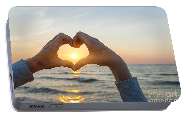 Heart Portable Battery Charger featuring the photograph Fingers Heart Framing Ocean Sunset by Elena Elisseeva