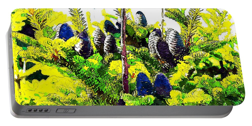 Fir Tree Buds Abstract Portable Battery Charger featuring the photograph Fir Tree Buds Abstract by Barbara Griffin