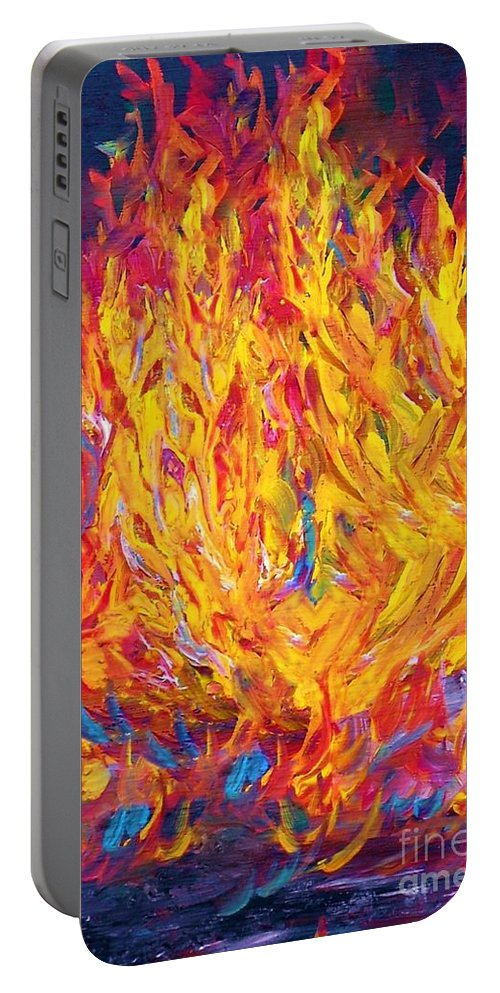 Fire Portable Battery Charger featuring the painting Fire And Passion - Here's To New Beginnings by Eloise Schneider Mote