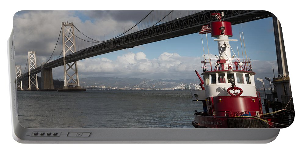 Sffd Portable Battery Charger featuring the photograph Fire Boat #2 by John Daly