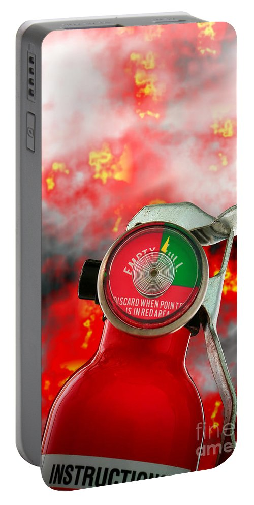 Fire Portable Battery Charger featuring the photograph Fire Extinguisher by Olivier Le Queinec