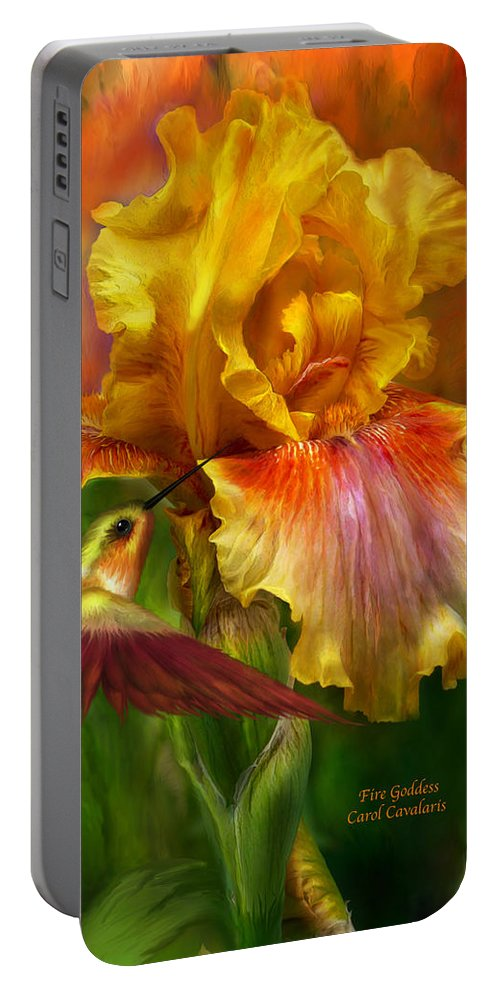 Iris Art Portable Battery Charger featuring the mixed media Fire Goddess by Carol Cavalaris