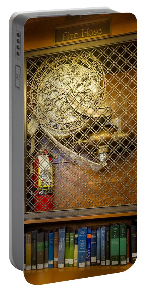 Fdny Portable Battery Charger featuring the photograph Fire Hose by Susan Candelario