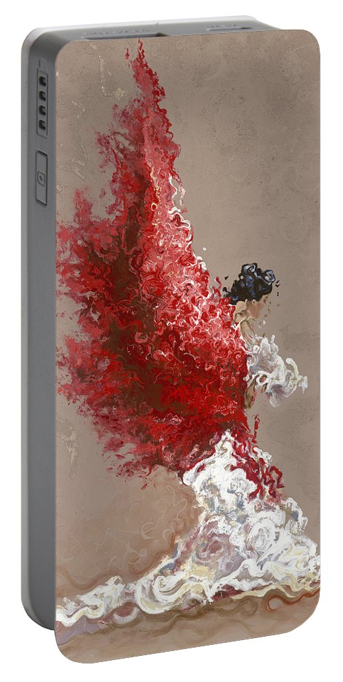Dance Portable Battery Charger featuring the painting Fire by Karina Llergo