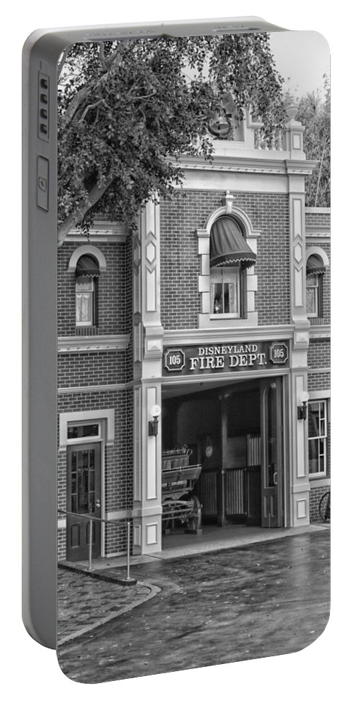 Disney Portable Battery Charger featuring the photograph Fire Station Main Street Disneyland Bw by Thomas Woolworth