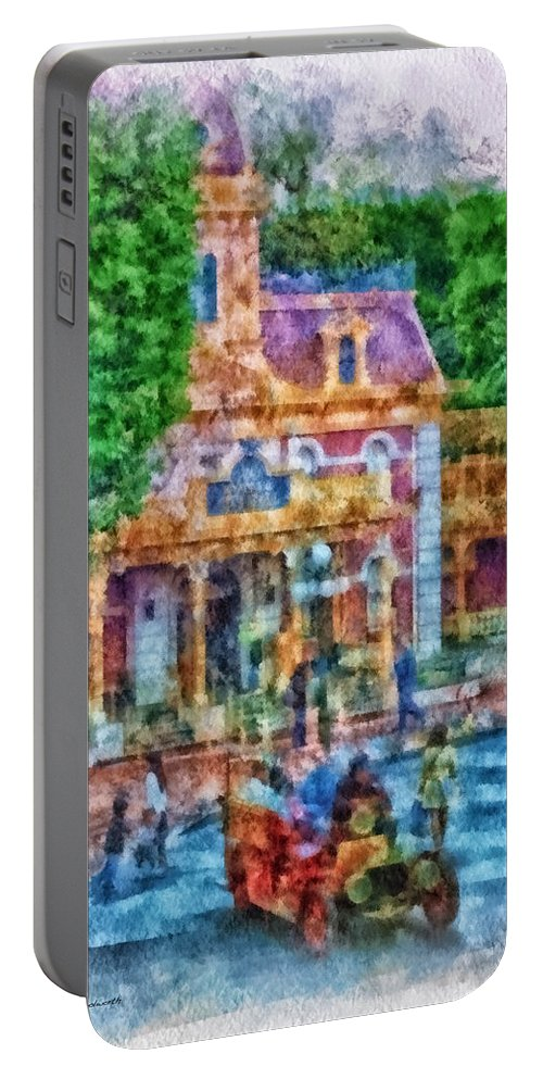 Disney Portable Battery Charger featuring the photograph Fire Truck Main Street Disneyland Photo Art 01 by Thomas Woolworth