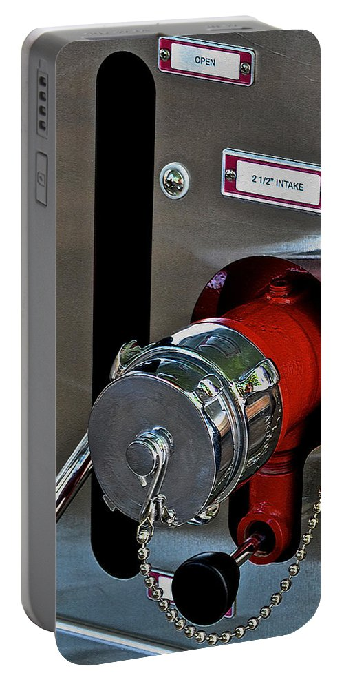 Intake Portable Battery Charger featuring the photograph Fire Truck Water Intake by Bill Owen