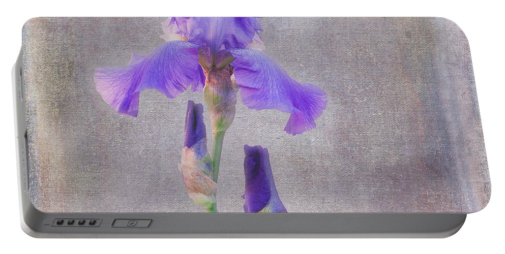 Flower Portable Battery Charger featuring the photograph Firecracker Iris by Janice Rae Pariza
