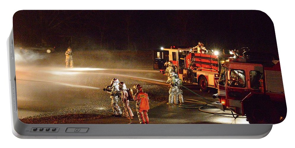 Firefighter Portable Battery Charger featuring the photograph Firefighters At Work by Aaron Martens