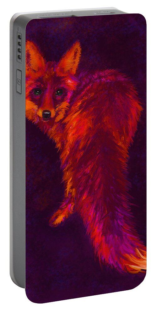 Fox Portable Battery Charger featuring the digital art Firefox by Jane Schnetlage