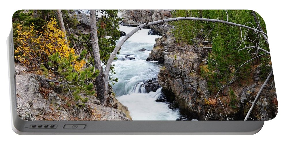 Waterfalls Portable Battery Charger featuring the photograph Firehole Falls by Deanna Cagle