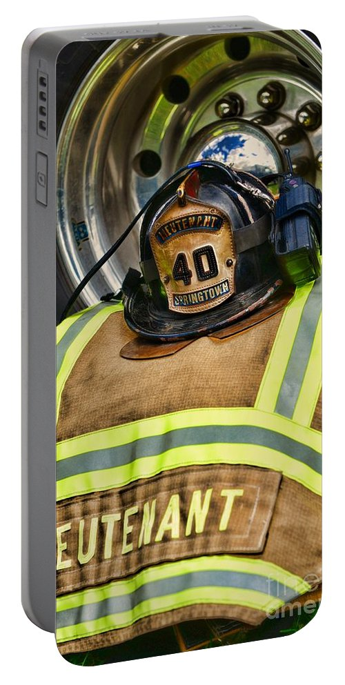 Paul Ward Portable Battery Charger featuring the photograph Fireman Turnout Gear Lieutenant by Paul Ward