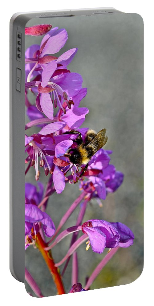 Fireweed Portable Battery Charger featuring the photograph Fireweed Bee by Cathy Mahnke