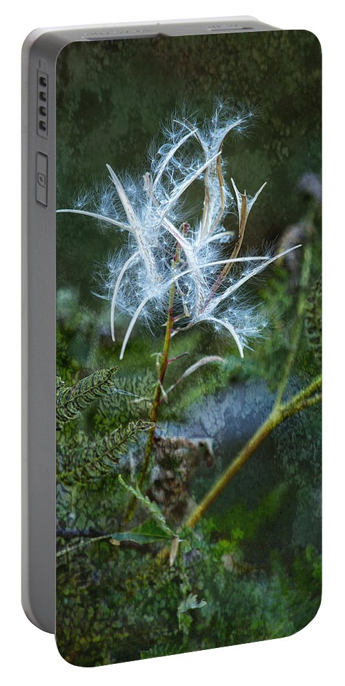 Fireweed Portable Battery Charger featuring the photograph Fireweed Flame Out But Spreading by Belinda Greb
