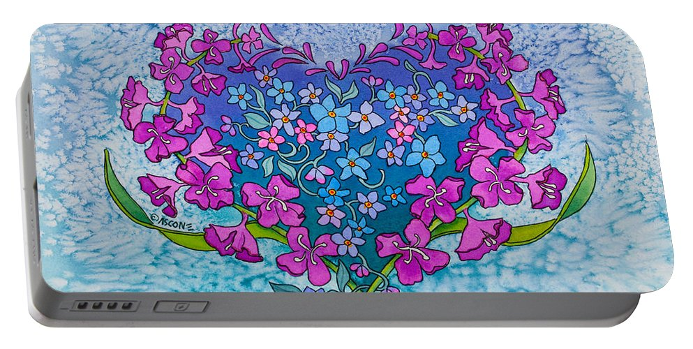 Fireweed Heart Portable Battery Charger featuring the painting Fireweed Heart by Teresa Ascone