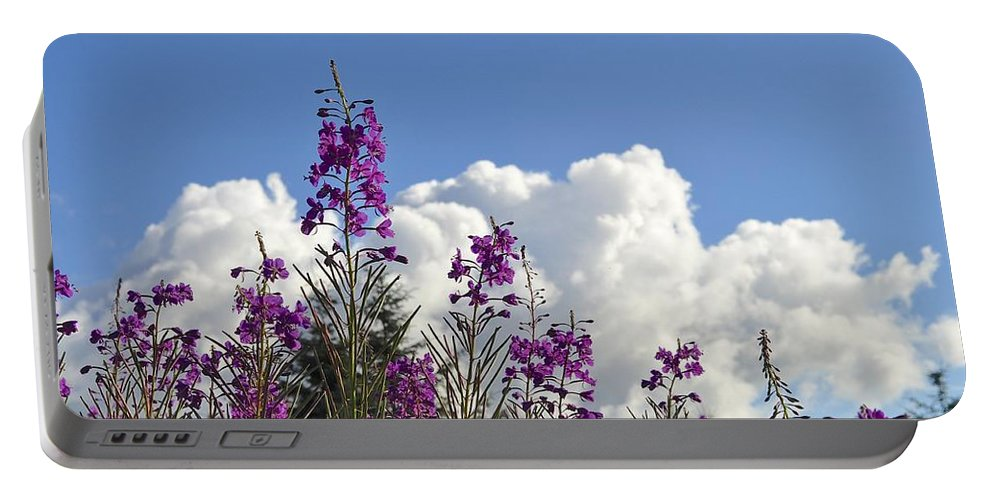 Fireweed Portable Battery Charger featuring the photograph Fireweed Sky by Cathy Mahnke