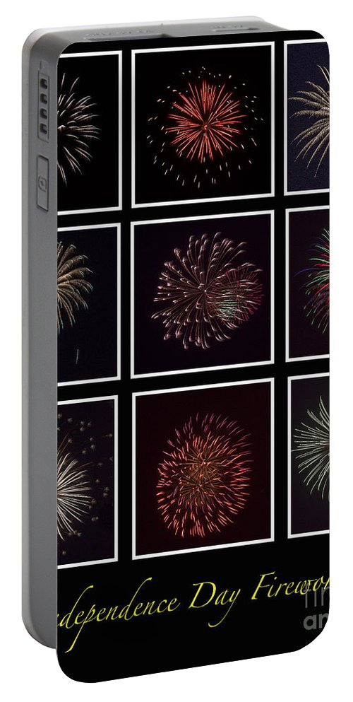 Fire Portable Battery Charger featuring the photograph Fireworks - Black Background by Scott Hervieux