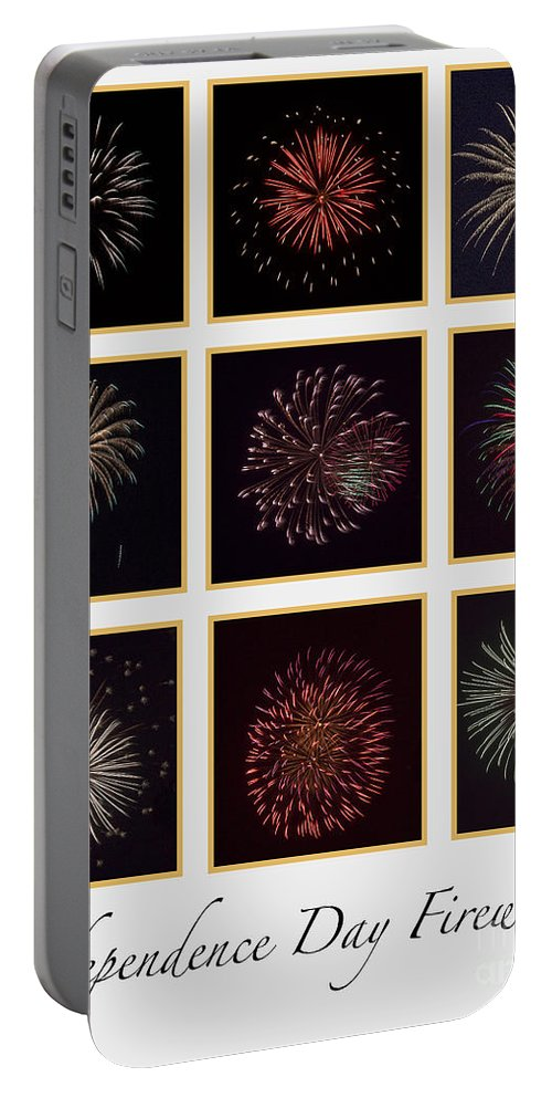 Fire Portable Battery Charger featuring the photograph Fireworks - White Background by Scott Hervieux