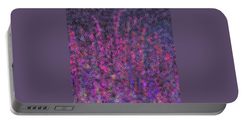 Purple Portable Battery Charger featuring the digital art Fireworks Abstract by Cassie Peters